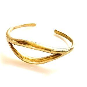 Lucky Brand Marked Bangle Cuff Gold Tone